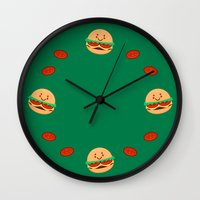 burger Wall Clocks featuring Burger by AnishaCreations