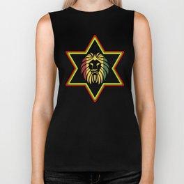 Star Of David Rasta Lion Of Judah Biker Tank