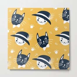 Elegant cats on yellow background  Metal Print
