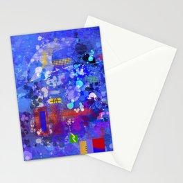 Blue Monday modern splatter abstract Stationery Cards