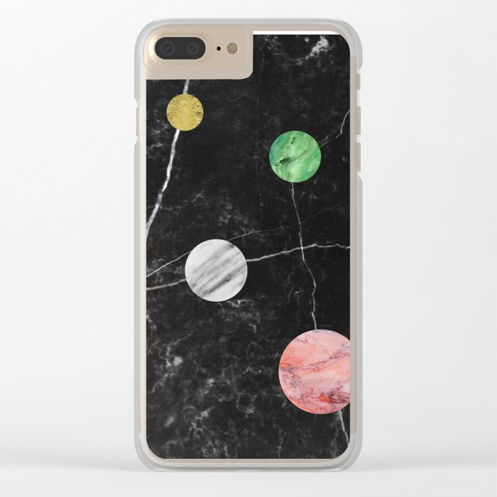 Black Marble with Polka Dots Clear iPhone Case