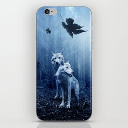 Wolfs in the blue forest iPhone Skin
