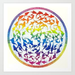 Harmony Rainbow Koi Fish Celtic Knot Art Print