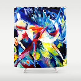 Deer in a Flower Garden by Franz Marc - Vintage Painting Shower Curtain