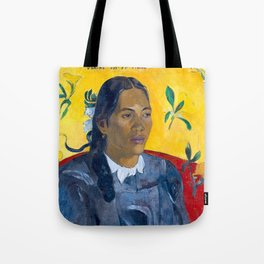 "Paul Gauguin ""Tahitian Woman with a Flower (Vahine no te tiare)"" Tote Bag"