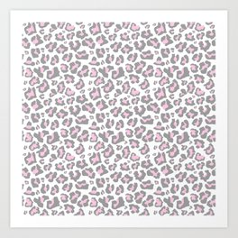 Pastel pink gray vector modern cheetah animal print Art Print