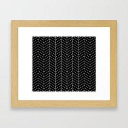 Herringbone Black Pattern Framed Art Print