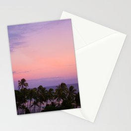 Purple Orange Sunset Palm Trees Beach - Honolulu, Hawaii Stationery Cards