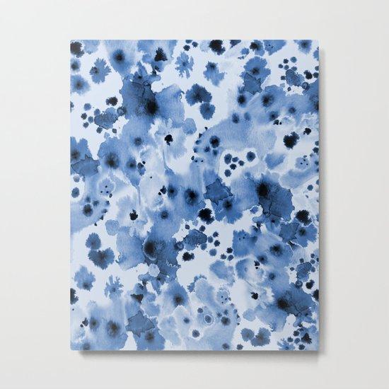 Indigo Splash - painterly blue artist summer watercolor cute cell phone case Metal Print