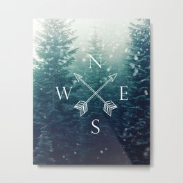 Arrow Compass in the Winter Woods Metal Print