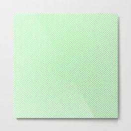 Classic Mint Green & White Herringbone Pattern Metal Print