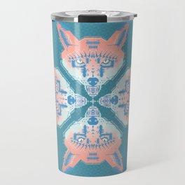 Pastel Fox Pattern Travel Mug