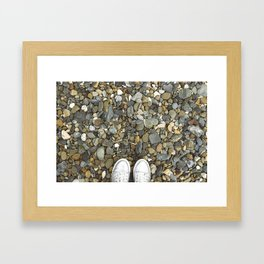 Brown pebbles and silver shoes Framed Art Print
