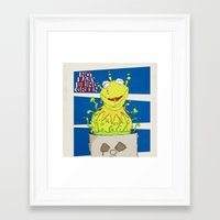 kermit Framed Art Prints featuring kermit by wolfvanhaeren