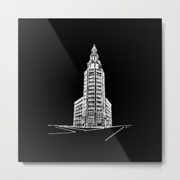 the Electric Tower at Night Metal Print
