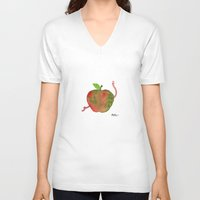 apple V-neck T-shirts featuring Apple by Phil McAndrew