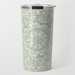 Sage Medallion with Butterflies & Daisy Chains Travel Mug