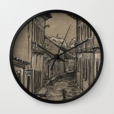 Old Village Alley Wall Clock