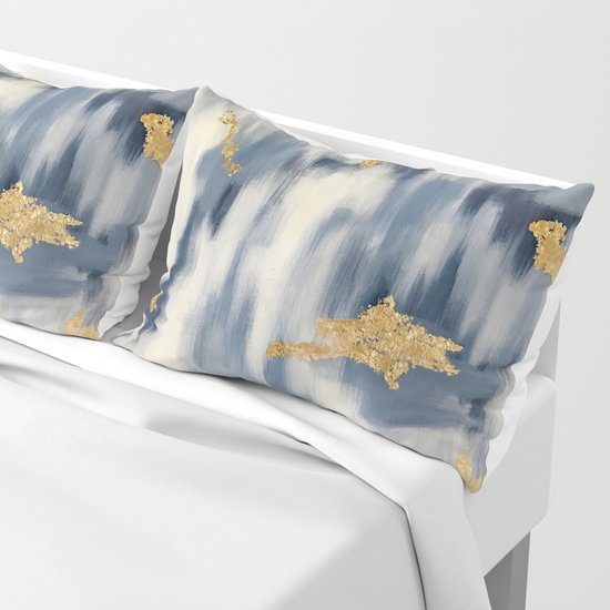Blue and Gold Ikat Pattern Abstract by brushedinbold
