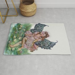 Skipping Lilies Butterfly Fairy Painting Rug