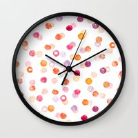 polka Wall Clocks featuring Polka by Eleanor Amelia