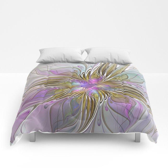Flourish, Abstract Fractal Art Flower Comforters