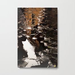 Reflections in Streets of Cobblestone Metal Print