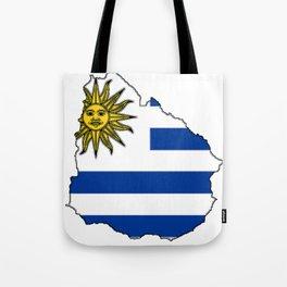 Uruguay Map with Uruguayan Flag Tote Bag