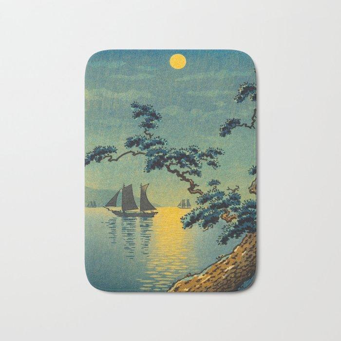 Tsuchiya Koitsu Maiko Seashore Japanese Woodblock Print Night Time Moon Over Ocean Sailboat Bath Mat