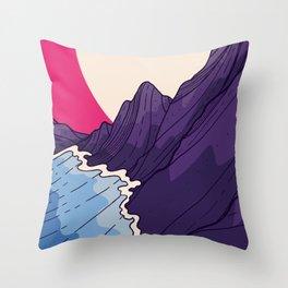 The purple sea cliffs  Throw Pillow