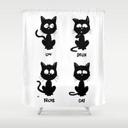 Un, deux, trois, cat Shower Curtain