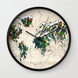 world map feathers mandala 3 Wall Clock