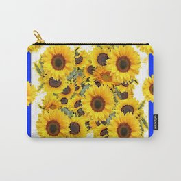 CLASSIC WHITE & BLUE SUNFLOWERS ART Carry-All Pouch