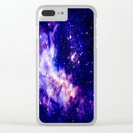 indigo galaxy : Celestial Fireworks Clear iPhone Case