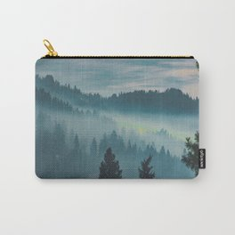 Misty Blue Watercolor Mountains Pine Trees Silhouette Minimalist Monochromatic Photo Carry-All Pouch