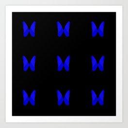 Blue Butterflies | Modern Pattern Innovative Design | Bold Abstract Print | Symmetric Flowers Art Print