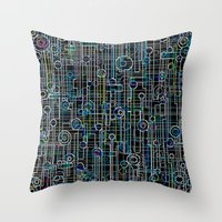 techno Throw Pillows featuring Techno Music by Shawn King