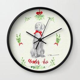 WEIMARANER UNDER THE MISTLETOE Wall Clock