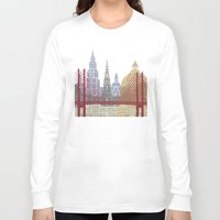 copenhagen Long Sleeve T-shirts featuring Copenhagen skyline poster by Paulrommer