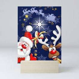 Merry Christmas Happy Santa and Reindeer Mini Art Print