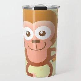 Lovely Baby Monkey Eating Bananas Travel Mug