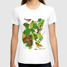Baltimore Oriole James Audubon Vintage Scientific Illustration American Birds T-shirt
