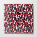 Red mushrooms field on navy blue by imali