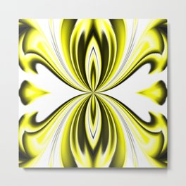 Black Yellow and White Butterfly Kaleidoscope Pattern Metal Print