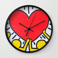 keith haring Wall Clocks featuring Keith Haring by Et Voilà
