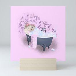 Hedgehog Bubble Bath Mini Art Print