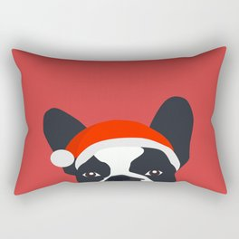 Santa Frenchie Rectangular Pillow