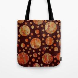 Orange Circles Against Dark Red Tote Bag