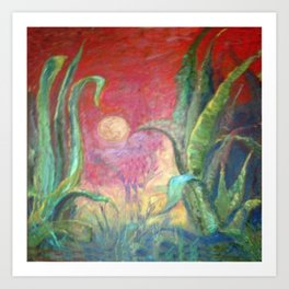 GREEN AGAVE DESERT CACTI & MOON PAINTING RED ART Art Print