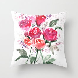 Abstract Watercolor Red Roses Throw Pillow